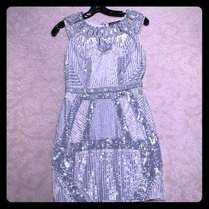 White with silver beadwork cocktail dress